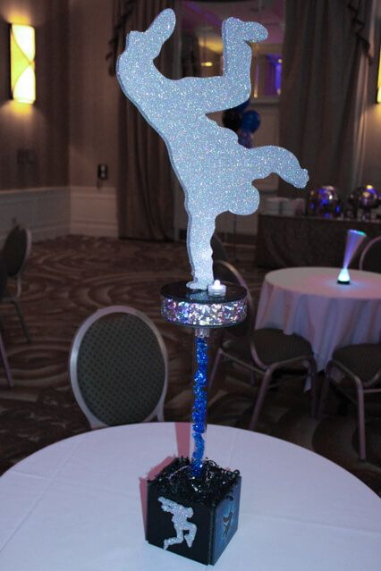 Dance Themed Centerpiece Hip Hop Dance Themed Hightop Centerpiece with Dancer Silhouettes