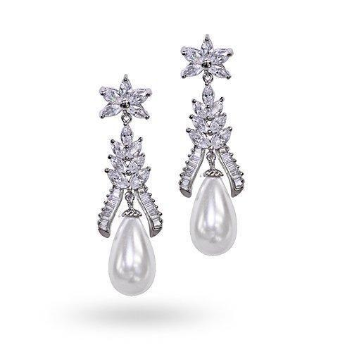 Bling Jewelry Silver Cubic Zirconia Pearl Chandelier Earrings 10mm