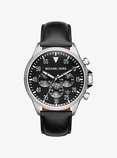 Gage Silver-Tone And Leather Watch