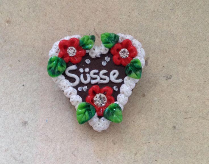 """Brosche Herz """"Süsse"""" rot, Lebkuchenherz, Oktoberfest von PfullingerEngele auf Etsy"""