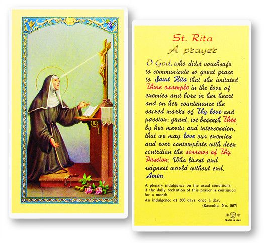 Prayer To St. Rita by Hirten | Catholic Shopping .com