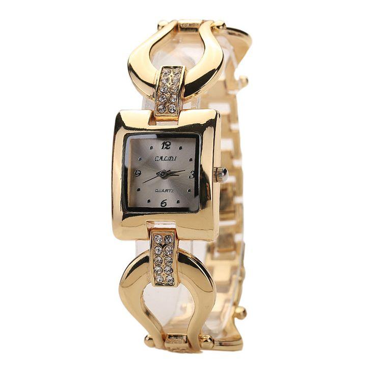 >> Click to Buy << 2017 New Arrival Ladies Women's Golden Bangle Bracelet Rhinestone Square Analog Quartz Dress Wrist Watch relogio feminino #Affiliate