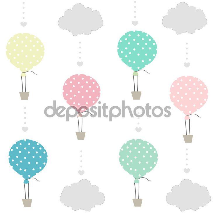 Balón a mraky baby vzor, tapety
