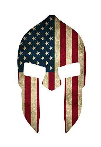 Spartan Helmet w/Grunge Style American Flag Decal Sticker | 5.5-Inches By 3.25-Inches