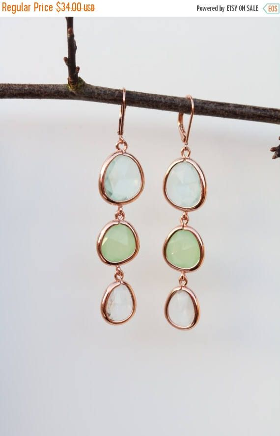 SPRING SALE Green Quartz Earrings - Dangle Earrings - Rose Gold Earrings - Drop Earrings - Birthstone Earrings - Topaz Jewelry - Green Earri