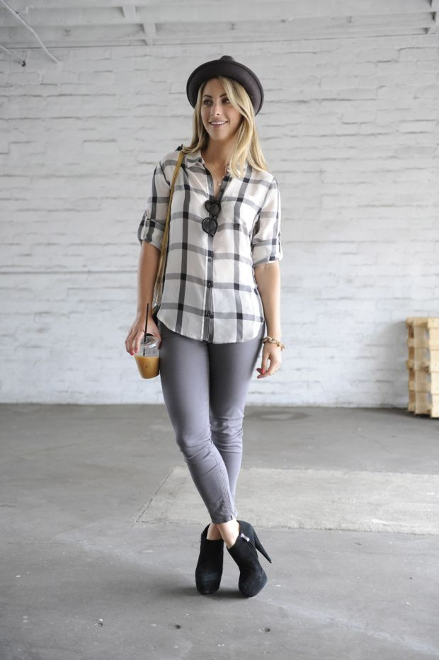 gray3: Muted Colors, Style, Ankle Boots, Cities Chic, Cute Outfits, Black Boots, Cupcakes And Cashmere, Plaid Shirts, Cupcakes Rosa-Choqu