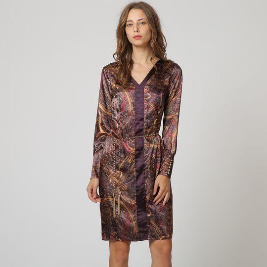 Vestido Con Estampado Étnico Violeta Y Dorado