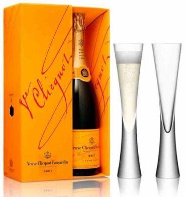 Veuve Clicquot Champagne Gift Box 75cl 2 LSA Moya Champagne Flutes