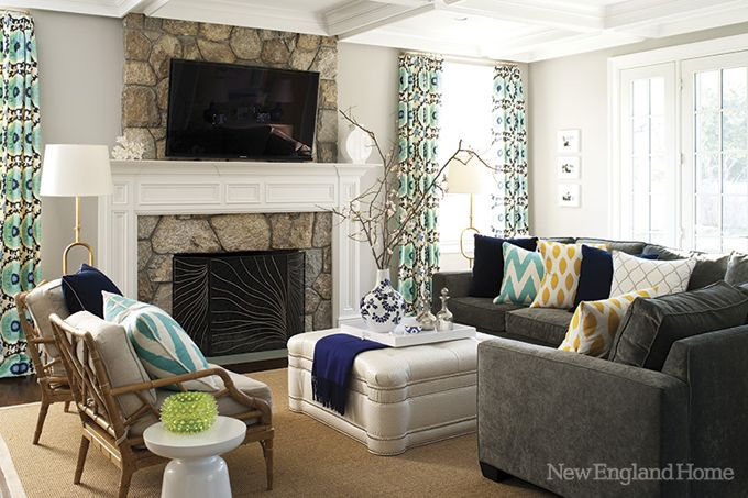 Colors.: Grey Couch, Stones Fireplaces, Curtains, Decor Ideas, Small Living Rooms, Colors, House, Pillows, New England Home