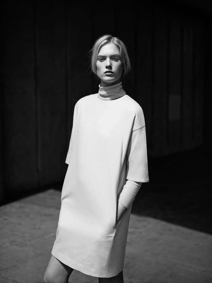 Dress with dropped shoulders & sleek in-seam pockets; minimal fashion // COS