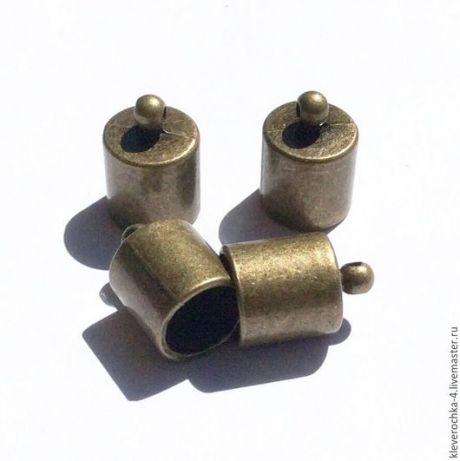 Купить Концевики 14,5 мм для шнуров и жгутов цвет бронза шапочки - золотой