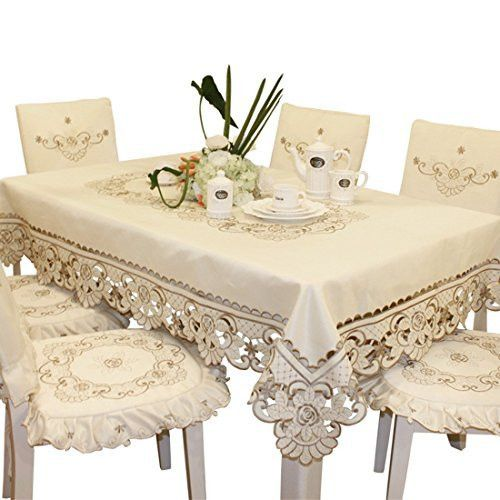 Brown flower embroidered lace cream tablecloth rectangular 60 inch x 86 inch approx multi sizes available