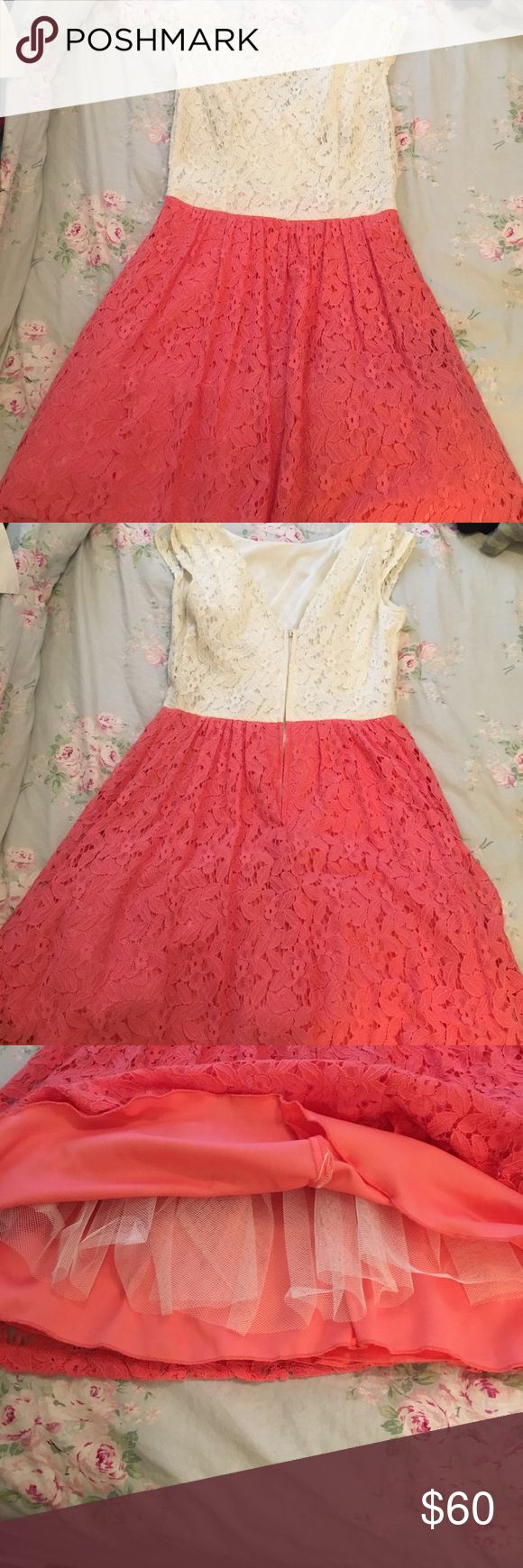 Coral and light cream laced dress Beautiful dress! wore it once to a wedding with cowboy boots. Cute! Messing thin brown belt but you can buy that anywhere b. smart Dresses Prom