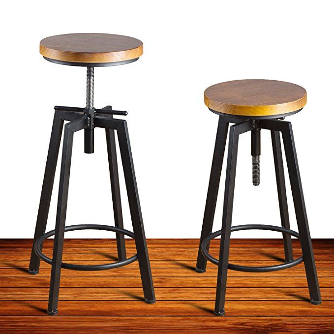 Round Wood Seat Bar Counter Height Adjustable Swivel Metal Bar Stool Chair For Bistro Pub Breakfast Kitchen Metal Bar Stools Bar Stool Chairs Adjustable Chairs