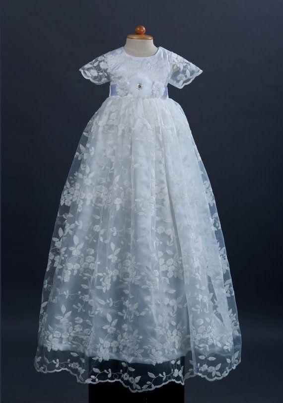 Gereserveerd voor JMD  witte Lace and Satin doop jurk