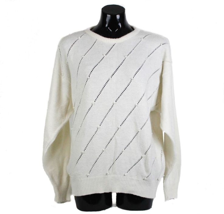 Vintage 80s 90s White Knit Jumper with Pearl Detail, 80s sweater, 90s sweater, 80s fashion, unisex, unisex sweater, cream jumper by FannyAdamsVC on Etsy