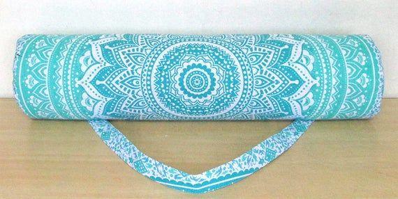 Indian Mandala Handmade Cotton Blue Silver Yoga Mat Bag Carry Beach Bags Hippie Mandala Gym Mat Carrier Sports Bag With Shoulder Strap