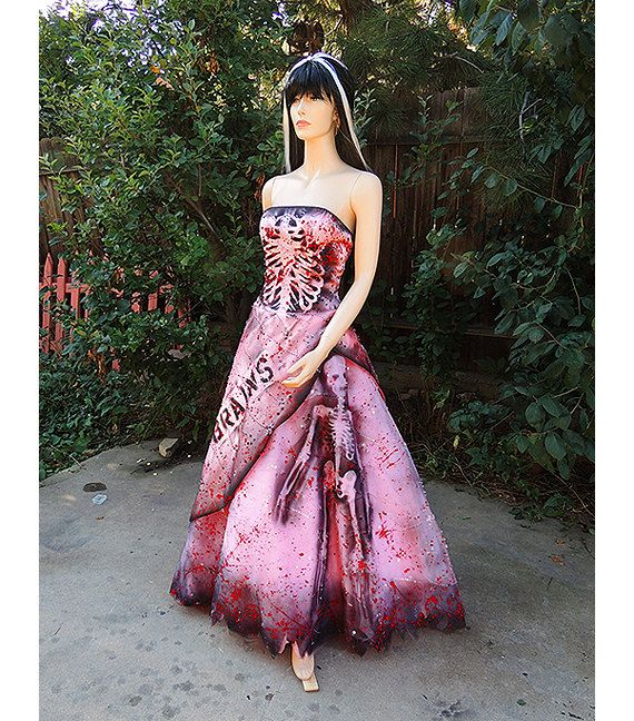 Deluxe Zombie Prom Queen Costume gown dress pink by GraveyardShift13 on Etsy