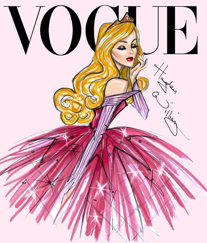 O britânicoHayden Williams é especializado em ilustrações de moda, com looks de muitos detalhes e personagens com carão de modelo. Além de desenhar personalidades da moda como Anna Wintour e famosas como Beyoncé, ele adora as princesas Disney. Lembram-se do post Ilustrações de Moda da Disney? Depois daquela série, ele criou essa abaixo, onde as princesas Disney posam glamourosas para a capa da revista Vogue. Com a lateral do rosto bem marcada, ~cabelõn~ e roupas luxuosas, ele lembrou até…