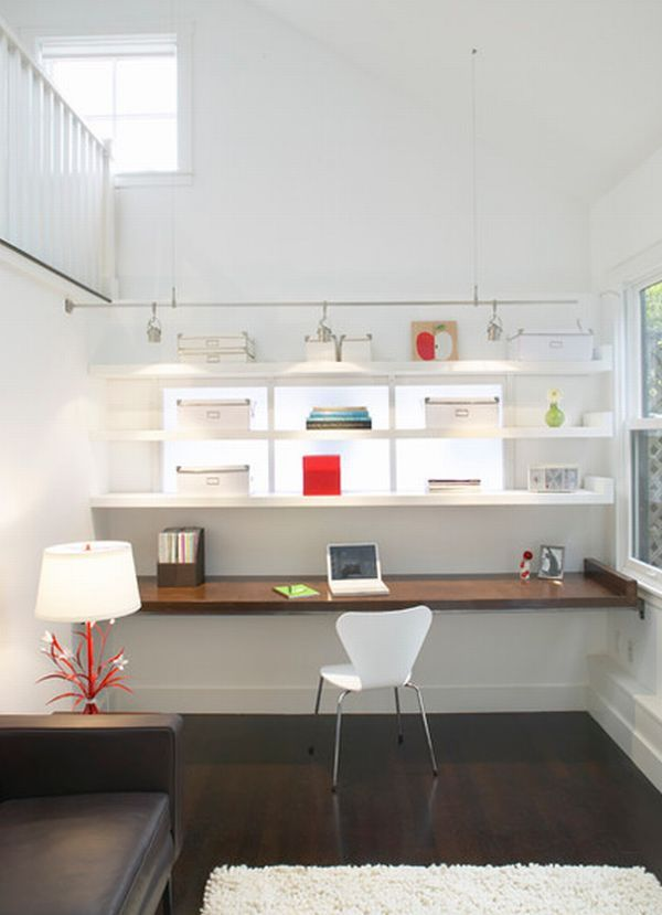 Lovely modern home office with a white backdrop