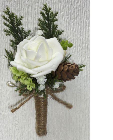 Rustic Style Rose & Mini Pine Cone Buttonhole