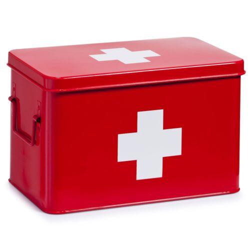 Metallo-Scatola-Per-Medicinali-Rosso-Armadietto-Dei-Farmacia-Domestica