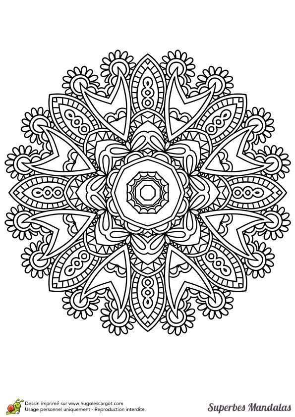 Coloriage d'un superbe mandala indien facile à colorier - Hugolescargot.com