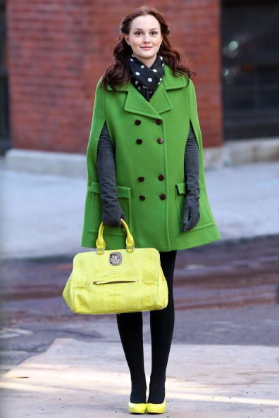 The quintessential preppy look- Blair Waldorf from Gossip Girl in a green cape