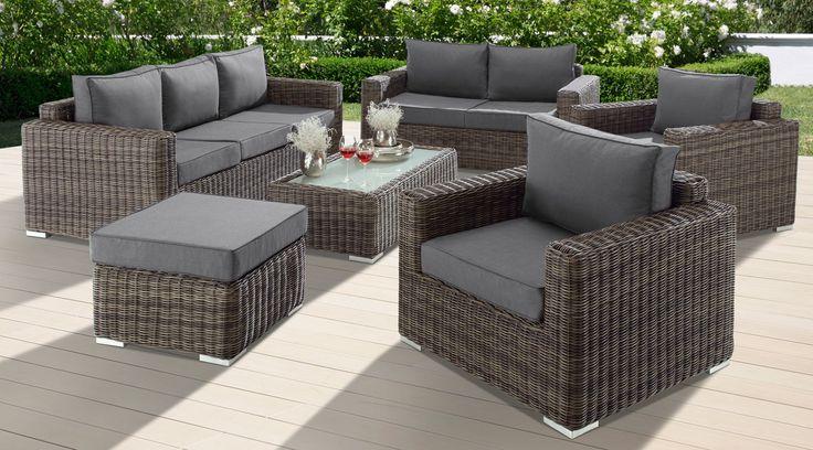 Baidani Loungeset Escape 21 Tlg 3 Sitzer 2 Sitzer Hocker Tisch Polyrattan Lounge Mobel Lounge Rattan Gartenmobel Sets