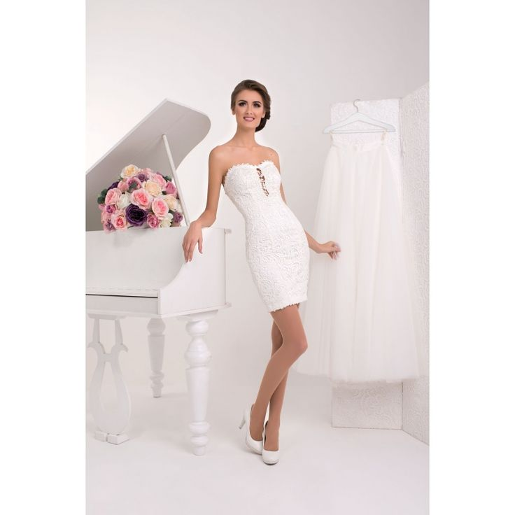 Lali - krátke odvážne svadobné šaty s perličkami