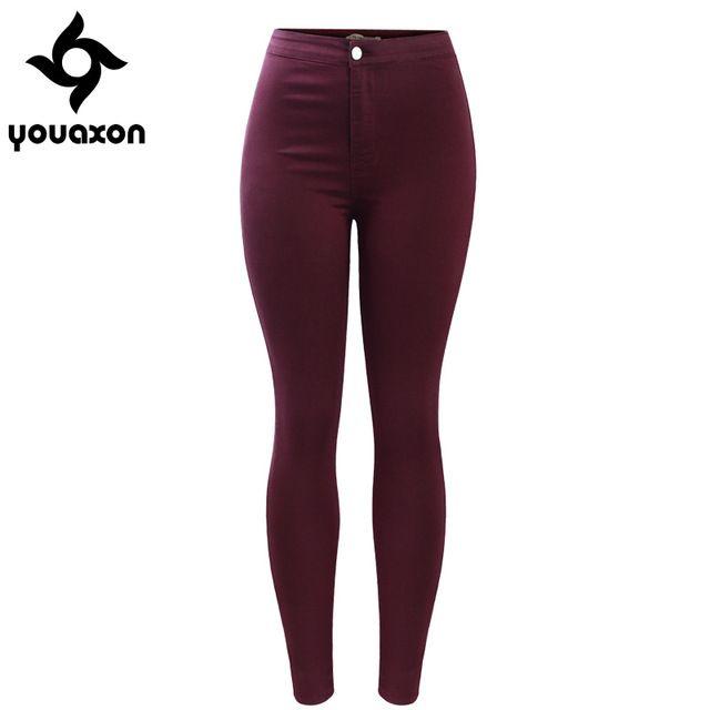 2035 Youaxon Envío Gratis Borgoña Elástico Jean de Mezclilla de Las Mujeres Pantalones Pantalones Skinny Lápiz de Talle Alto Vaqueros Mujer Femme