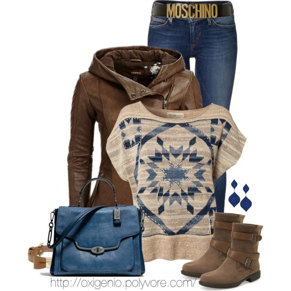 """""""Brown and blue"""" by oxigenio on Polyvore"""