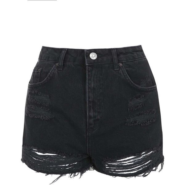 TOPSHOP MOTO Washed Black Ripped Mom Shorts ($45) ❤ liked on Polyvore featuring shorts, bottoms, short, topshop, washed black, black short shorts, torn shorts, black distressed shorts and ripped shorts