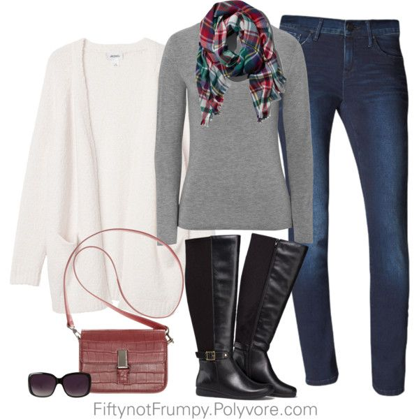 A fashion look from November 2014 featuring knit cardigan, long sleeve tee and skinny jeans. Browse and shop related looks.