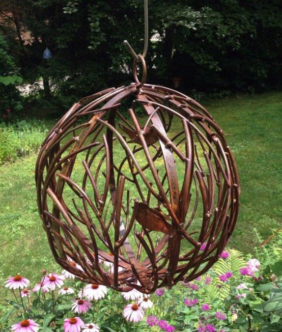 Metal Globe Metal Bird Garden Art With Images Garden Art Metal Garden Art Metal Birds