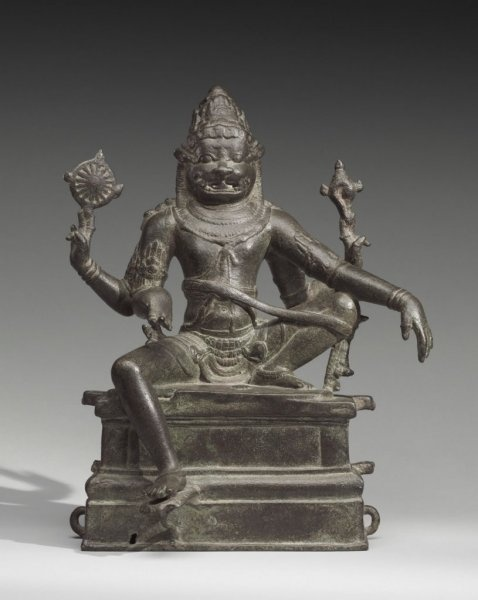 Object Title: Narasimha (Vishnu's Man-Lion Avatar) Measurements: 14 x 12 x 7 13/16 inches (35.6 x 30.5 x 19.9 cm) Creation Date: c. 1000 Credit Line: Purchased with the Stella Kramrisch Fund for Indian and Himalayan Art, 2010