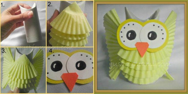 Manualidades: Búho de papel de cupcake