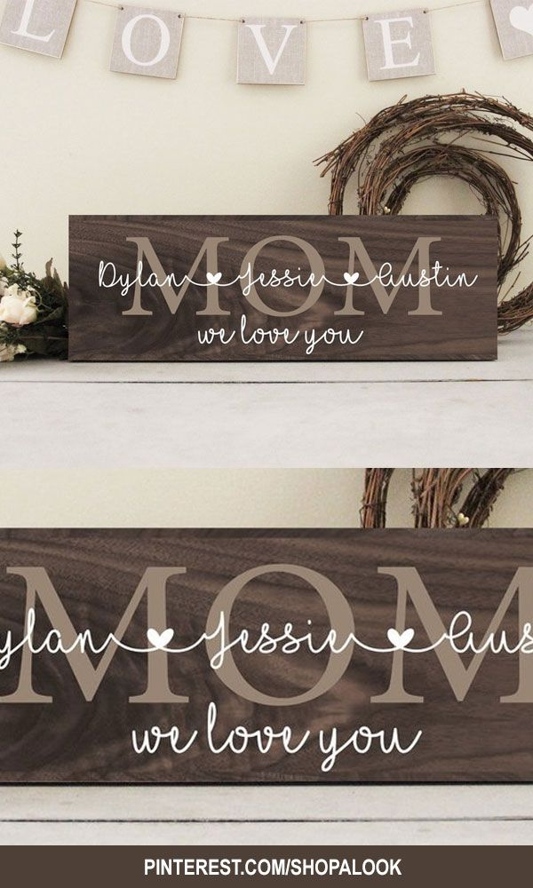 Mother S Day Gift Rustic Wood Mom Sign Family Wall Sign Family