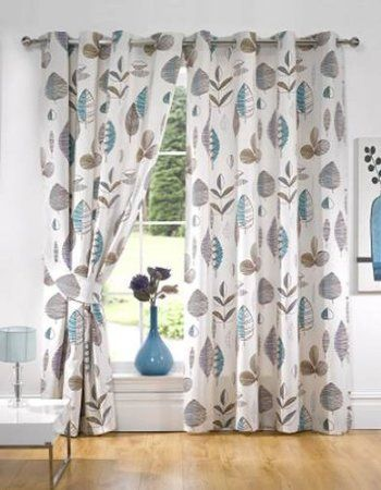"""Eyelet Lined Curtains Ringtop Retro Floral Teal 65""""x90"""": Amazon.co.uk: Kitchen & Home"""
