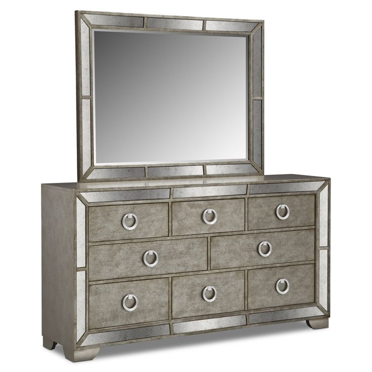 Angelina Dresser with Mirror silver color