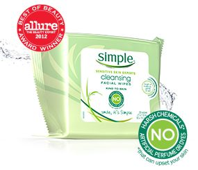 @simpleskincare Cleansing Facial Wipes are perfect for sensitive skin. They're an @alluremagazine Best of Beauty Award Winner and nourish skin while removing even waterproof mascara. Keep them in the refrigerator for a quick and refreshing cleanse.