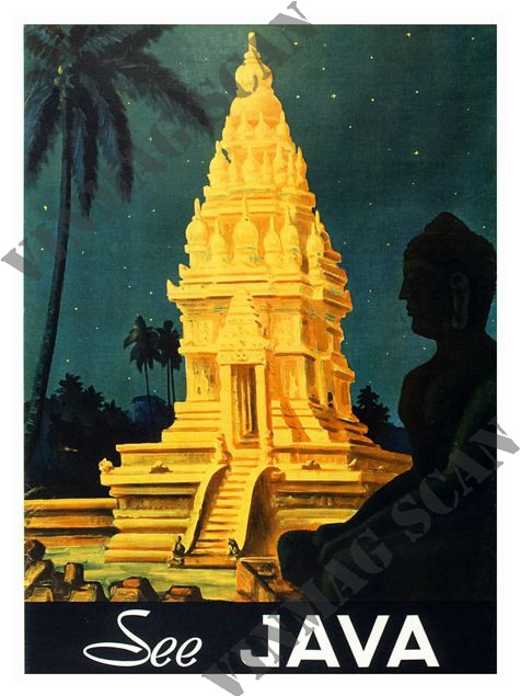 AP1263 - Java, Travel Poster 1940s (30x40cm Art Print)