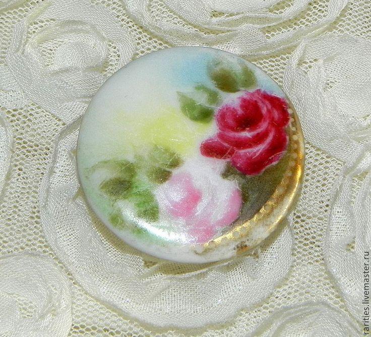 Купить Антикварный фарфоровый кабошон Розы /камея/вставка,для рукоделия - камея, камея из фарфора, камея с цветами