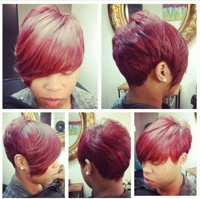 Love The Red Love The Cut Hair Styles With Assorted Colors Pinterest Tissage Tresses Et