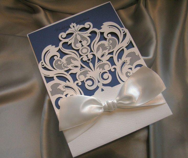 pocket wedding invitation lazer cut with blue insert (Carl) in Home, Furniture & DIY, Wedding Supplies, Cards & Invitations | eBay