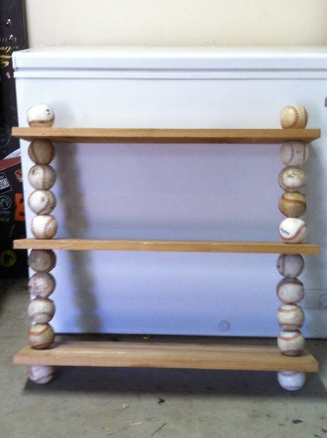 Step By Step of How To Build Baseball Shelf Would like to add hooks on bottomed self to hang medals.