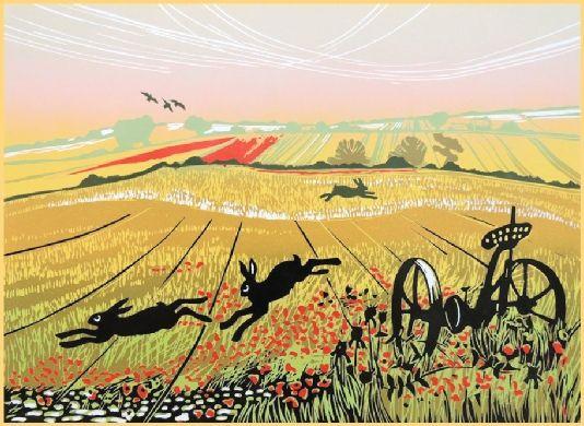 Rob Barnes 'hares in a Poppy field' linocut