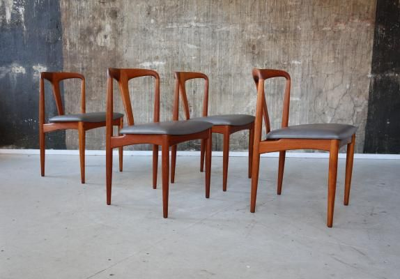 Teak Leather Dining Chairs By Johannes Andersen For Uldum