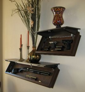 """LedgeLOKR concealment shelves offer hidden secure storage with fast instant access. They provide an outstanding defense against theft or unauthorized access using a """"hide in plain sight"""" concept and an easy to operate magnetic latching system.  Protection for your firearms and other valuables that goes beyond the traditional gun safe."""