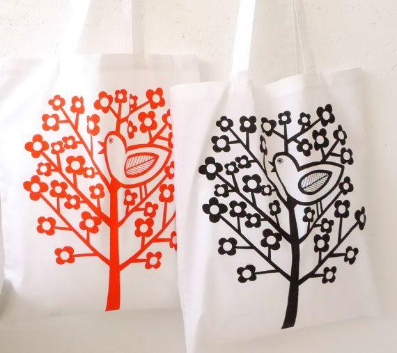 New Scandinavian Birdsong screen printed shopper bag by Jane Foster